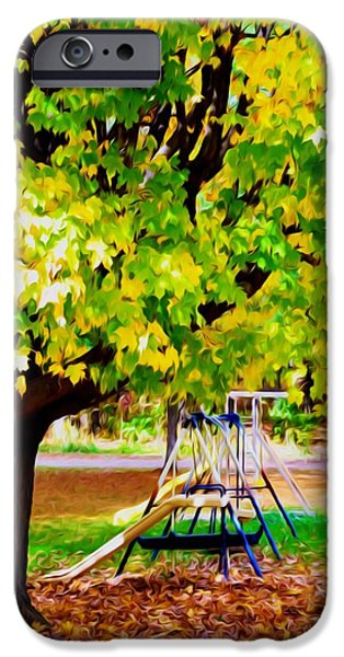 Park Scene Paintings iPhone Cases - Autumn playground iPhone Case by Lanjee Chee