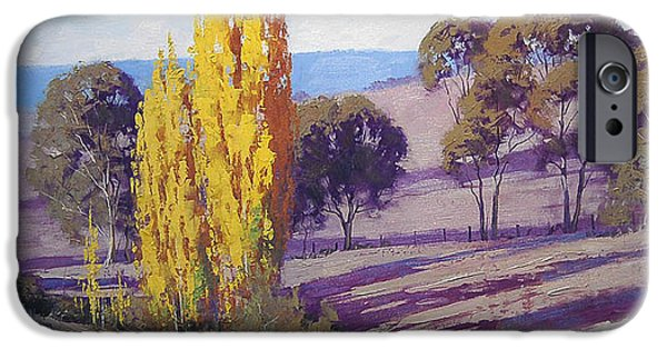 Shed Paintings iPhone Cases - Autumn Poplars iPhone Case by Graham Gercken