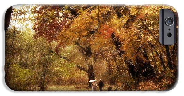 Autumn Foliage iPhone Cases - Autumn Promenade iPhone Case by Jessica Jenney