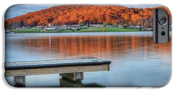 Autumn Scenes iPhone Cases - Autumn Red at Lake White iPhone Case by Jaki Miller