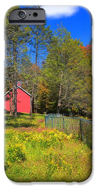 Fall Scenes iPhone Cases - Autumn Red Barn iPhone Case by Joann Vitali