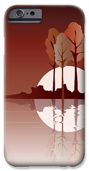Reflecting Trees iPhone Cases - Autumn reflected iPhone Case by Jane Rix