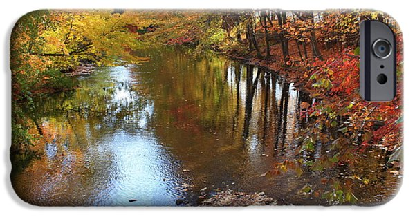 Creek iPhone Cases - Autumn Reflection iPhone Case by  Photographic Art and Design by Dora Sofia Caputo