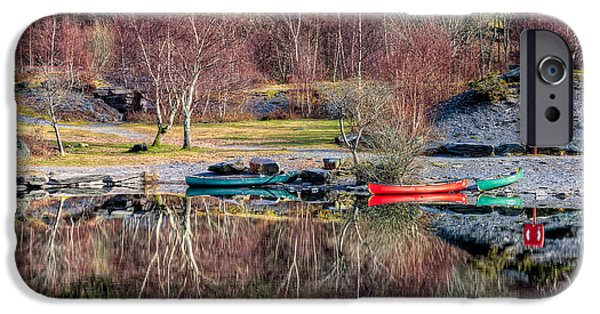 Red Canoe iPhone Cases - Autumn Reflections iPhone Case by Adrian Evans