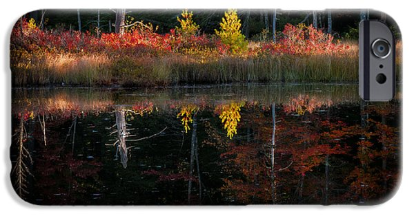 Dappled Light Photographs iPhone Cases - Autumn Reflections - Red Eagle Pond iPhone Case by Thomas Schoeller
