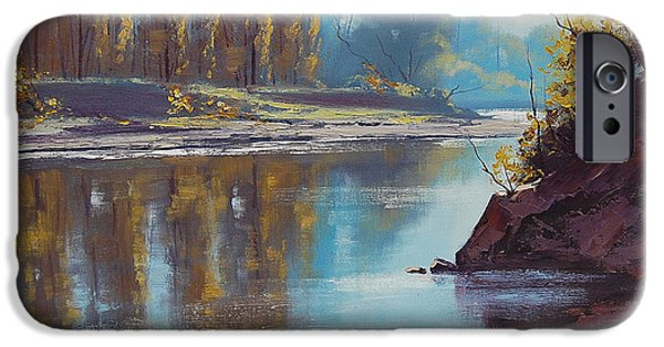 River iPhone Cases - Autumn Reflections Tumut River iPhone Case by Graham Gercken