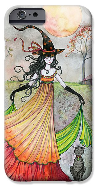 Witch Halloween Cat Wicca Paintings iPhone Cases - Autumn Reverie iPhone Case by Molly Harrison
