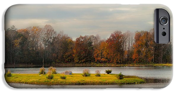 Autumn Scenes Photographs iPhone Cases - Autumn Rising At The Duck Pond - Autumn Scene iPhone Case by Jai Johnson