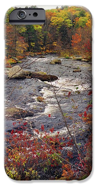 New Hampshire Fall Scenes iPhone Cases - Autumn River iPhone Case by Joann Vitali