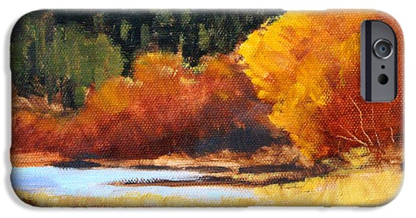 Fall Scenes iPhone Cases - Autumn Riverside iPhone Case by Nancy Merkle