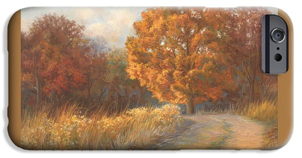 Scenery Paintings iPhone Cases - Autumn Road iPhone Case by Lucie Bilodeau