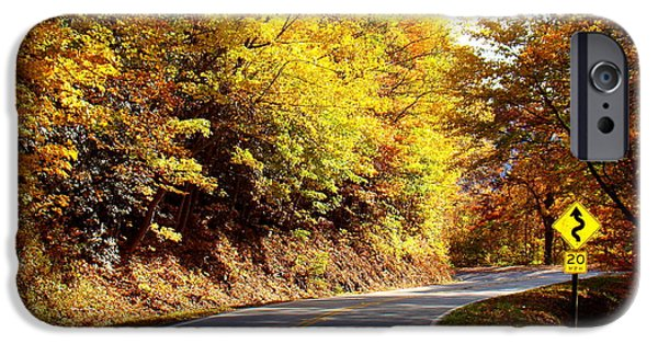 Smokey Mountain Drive iPhone Cases - Autumn Road iPhone Case by Mary Goodreau