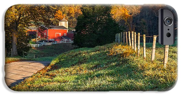 Connecticut Landscape iPhone Cases - Autumn Road Morning iPhone Case by Bill  Wakeley