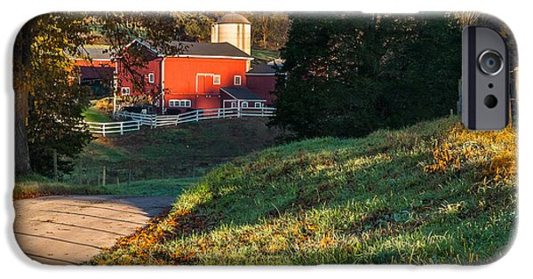 Connecticut Farm iPhone Cases - Autumn Road Morning Square iPhone Case by Bill  Wakeley