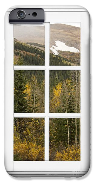 Epic iPhone Cases - Autumn Rocky Mountain Glacier View Through a White Window Frame  iPhone Case by James BO  Insogna