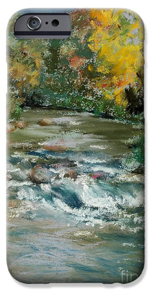 Creek Pastels iPhone Cases - Autumn Rush iPhone Case by Mary Benke