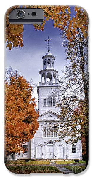 Autumn Scenic from Old First Church of Bennington Vermont iPhone Case by Thomas Schoeller