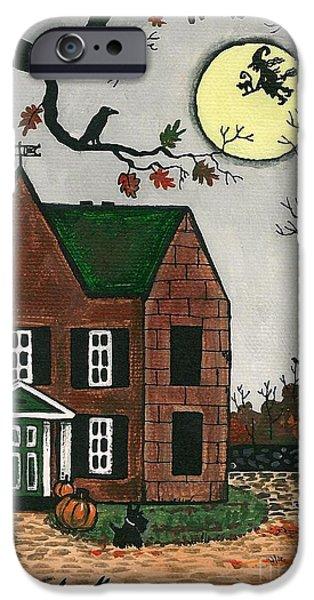 Haunted House Paintings iPhone Cases - Autumn Scotties iPhone Case by Margaryta Yermolayeva