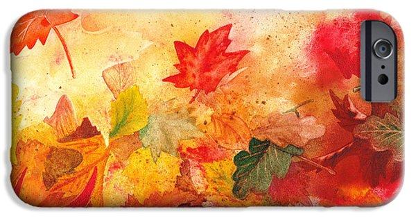 Maple Season Paintings iPhone Cases - Autumn Serenade  iPhone Case by Irina Sztukowski