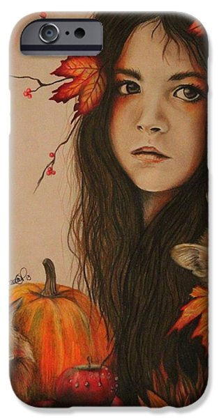 Autumn Drawings iPhone Cases - Autumn iPhone Case by Sheena Pike