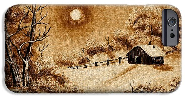 Bob Ross Digital iPhone Cases - Autumn Snow iPhone Case by Barbara Griffin