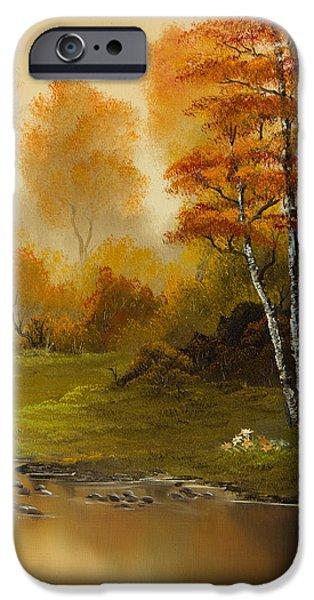 Bob Ross Paintings iPhone Cases - Autumn Splendor iPhone Case by C Steele