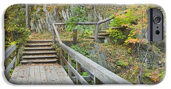 Franklin Photographs iPhone Cases - Autumn Steps Near Smalls Falls in Maine iPhone Case by Keith Webber Jr