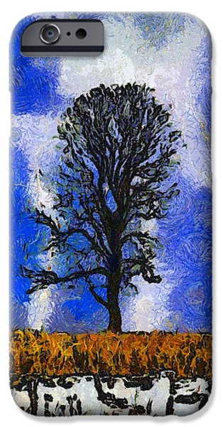 Alley Mixed Media iPhone Cases - Autumn Storm On The Farm iPhone Case by Dan Sproul