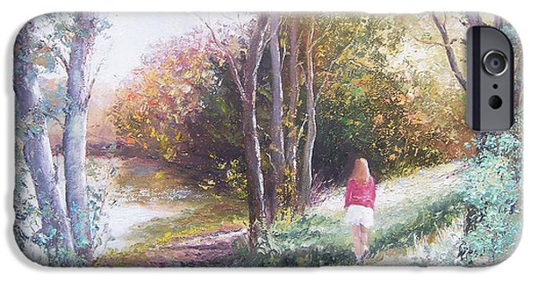 Landscape With Figure iPhone Cases - Autumn Strolling  iPhone Case by Jan Matson