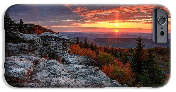 Sod iPhone Cases - Autumn sunrise at Dolly Sods iPhone Case by Jaki Miller