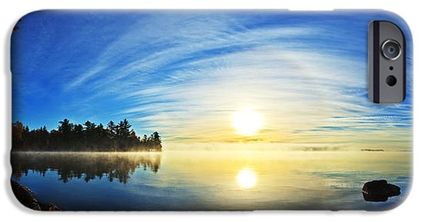Morning iPhone Cases - Autumn Sunrise at Meddybemps Panorama iPhone Case by Bill Caldwell -        ABeautifulSky Photography