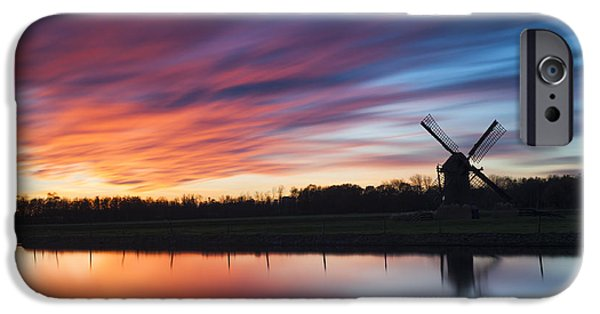 Silhoette iPhone Cases - Autumn Sunset at Knip Molen iPhone Case by Dawn  Black
