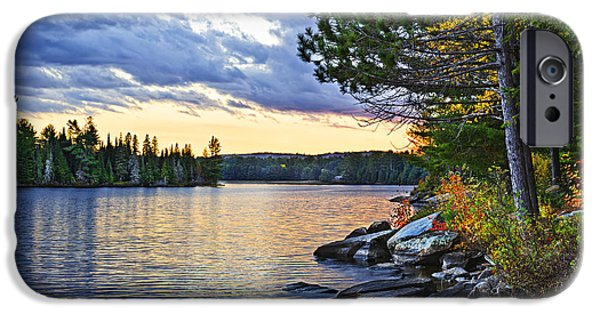 Algonquin iPhone Cases - Autumn sunset at lake iPhone Case by Elena Elisseeva