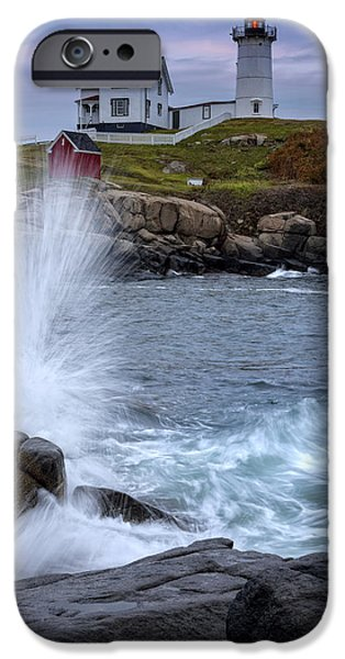 Cape Neddick Lighthouse Photographs iPhone Cases - Autumn Tide iPhone Case by Rick Berk