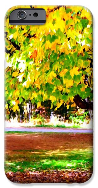 Park Scene Paintings iPhone Cases - Autumn Trees 6 iPhone Case by Lanjee Chee