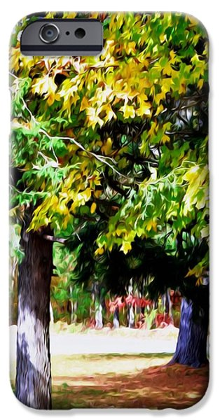 Park Scene Paintings iPhone Cases - Autumn Trees 7 iPhone Case by Lanjee Chee