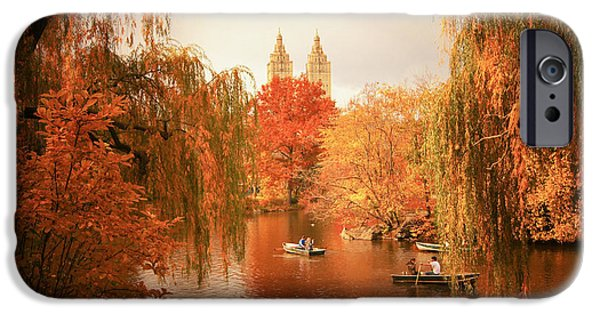 Willow Lake iPhone Cases - Autumn Trees - Central Park - New York City iPhone Case by Vivienne Gucwa