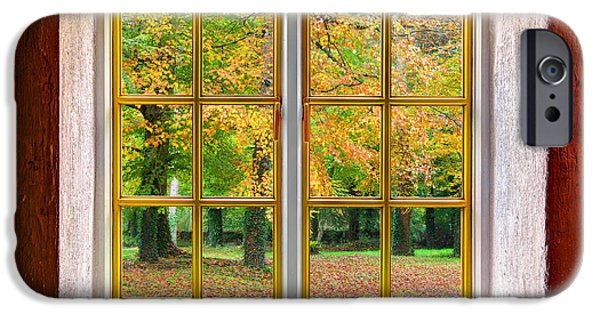 Cabin Window iPhone Cases - Autumn View iPhone Case by Semmick Photo