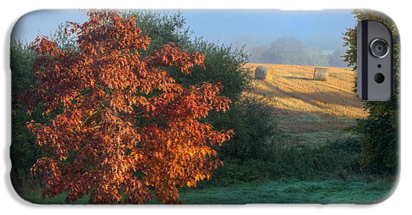 Haybale iPhone Cases - Autumn View iPhone Case by Stuart Gennery