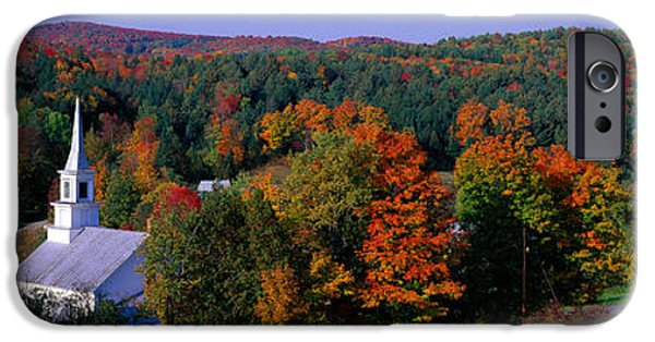 New England Village iPhone Cases - Autumn, Waits River, Vermont, Usa iPhone Case by Panoramic Images