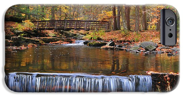 Fall Scenes iPhone Cases - Autumn Waterfalls iPhone Case by Paul Ward