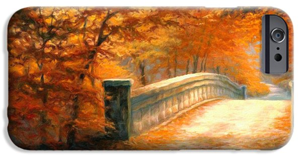Autumn Landscape Mixed Media iPhone Cases - Autumn Whispers iPhone Case by Georgiana Romanovna