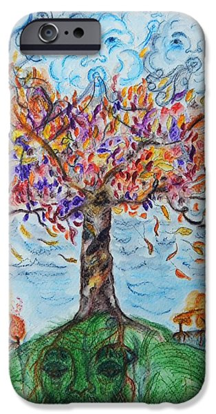 Autumn Drawings iPhone Cases - Autumn Winds iPhone Case by Mimulux patricia no