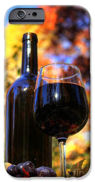Red Wine Prints iPhone Cases - Autumn Wine 2 iPhone Case by Jimmy Ostgard