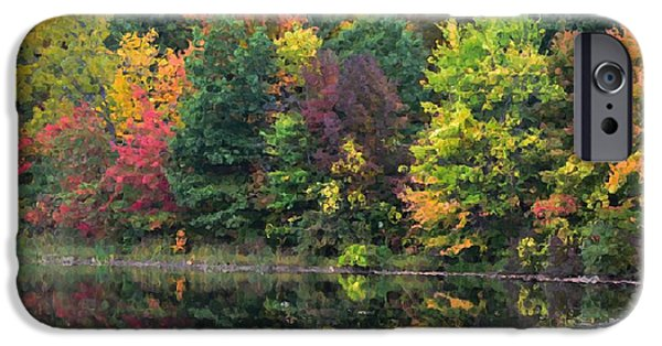 Hudson River iPhone Cases - Autumn with colorful foliage and water reflection 16 iPhone Case by Lanjee Chee