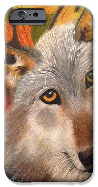 Wild Animals Pastels iPhone Cases - Autumn Wolf iPhone Case by Renee Michelle Wenker