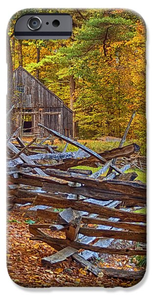 Massachusetts Autumn Scenes iPhone Cases - Autumn Wooden Fence iPhone Case by Joann Vitali