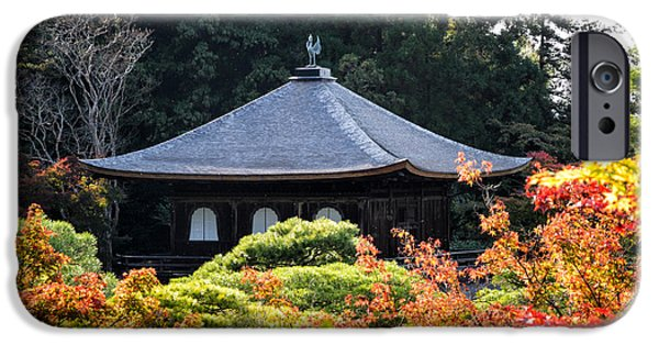 Buddhist iPhone Cases - Autumnal Temple - Ginkaku-ji - Temple of the Silver Pavilion in Kyoto Japan iPhone Case by David Hill