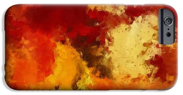 Trees At Sunset iPhone Cases - Autumns Abstract Beauty iPhone Case by Lourry Legarde