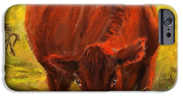 Watson iPhone Cases - Autumns Afternoon - Cow Painting iPhone Case by Lourry Legarde